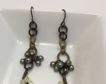 Brass earrings, chain dangle cluster earrings with flower and blue glass pearls