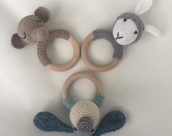Crochet teether rattle elephant, unique and hand made