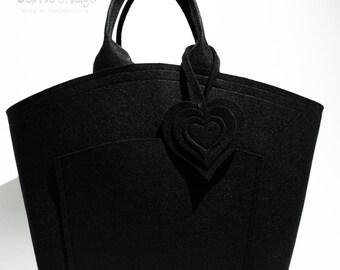Felt bag NOA, Handbag, Black Felt Bag
