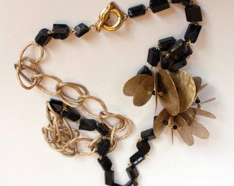 Long Beads From Schorl and Brass, Gems Beads, Schorl Beads, Brass Jewelry, Handmade Beads, Crafted Beads, Metall Jewelry