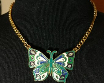 Awesome Vintage Blue Green & Gold Enamel Butterfly Necklace