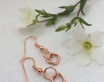 earrings rose gold,geometric earrings,chunky gold squares, pink gold earings,square earrings,earrings rose colour,rose pink earrings,blush