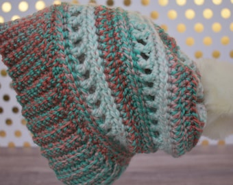 The Aspen Slouchy Beanie: Ready-to-ship // slouchy hat, beanie, coral and aqua