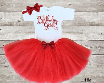 Red Birthday Girl Outfit, Birthday Girl Red Outfit, 1st Birthday Red Outfit, First Birthday Red Outfit, 1st birthday outfit Red