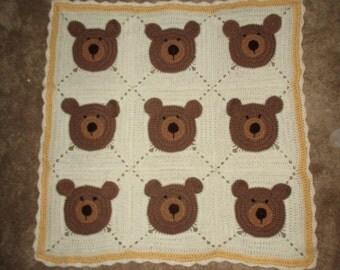 Teddy Bear crocheted afghan ~handmade