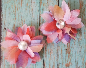 Pink flower hair clips