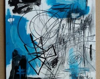 Lynn Carson original abstract. acrylic, pencil on wood