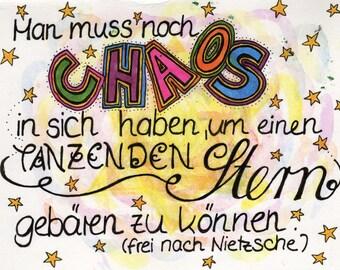 Fine art postcards A6 - original: Chaos and dancing star, Nietzsche