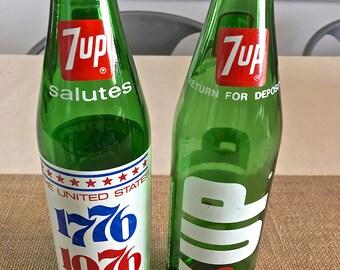 Vintage 7*UP Soda bottles -1976