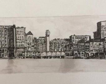 Original-detailed pen drawing of the Meneba Factory Rotterdam//Original detailled pendrawing or Meneba Factory Rotterdam