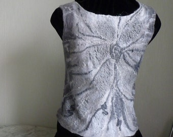 Felted Waistcoat, felted Vest, gray vest, merino wool vest, wearable fiber art, Size M