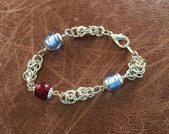 Glass bead and Byzantine weave chain bracelet