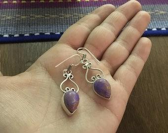 Purple amethyst dangle earrings