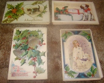 Large Lot Of 70 Vintage Christmas Postcards (Holly)