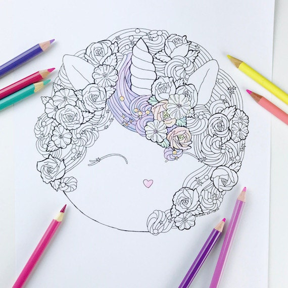 Adult coloring page Magical Unicorn Coloring Pages for Adults