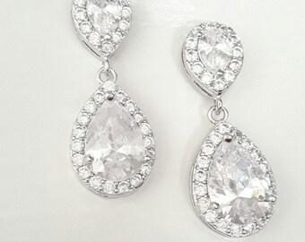 Bridal teardrop earrings Rhodium bride earrings Wedding crystal earrings jewelry Teardrop dangle earrings studs Bridal earrings BJ023