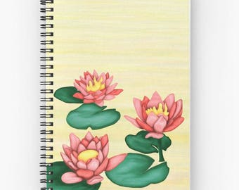 Painting of lotus flower - zen pattern Lily water lilies - illustrated art writing journal notebook notes quotes - art print