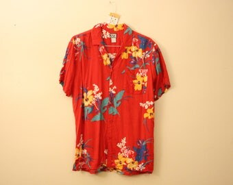 Vintage Red Rayon Hawaiian Shirt Top *Flat Rate Shipping* [Cute Vintage Top Shirt Blouse Women's Size Extra Large/Plus Size/ XL]