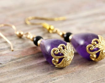 Teardrop amethyst dangle earrings with black onyx 14kt gold fill and vermeil accent