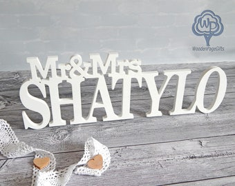 Mr and Mrs Last Name Personalized Family name Mr and Mrs table sign Wooden Name Wedding Sign