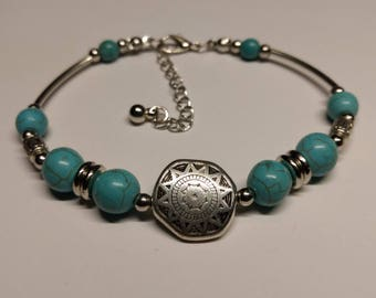 Bracelet sterling silver turquoise beaded Bohemian style