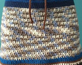 Knit blue single crochet dark brown skirt