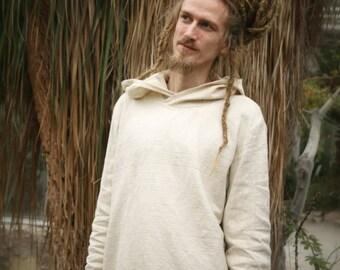 Men's Kadhi Hoodie Pullover Longsleeve Handloom Organic Cotton Sweatshirt Dread Hood