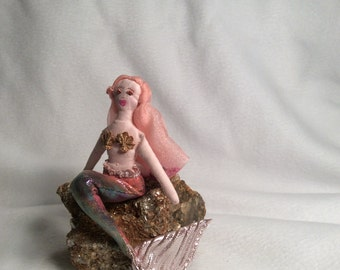 Mermaid magical small soft art doll sculpture handmade