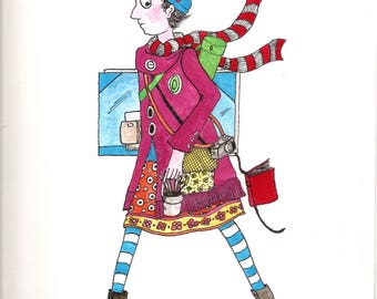 Skinny girl artist-Original watercolor 12x9 This painting will brighten any girls room and will bring joy everytime it is viewed.