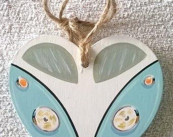 Hand painted campervan decoration,vw,camper van,hanging ornament,hanging decoration,vintage,gift for her,heart,love,blue