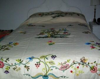 Vintage Crewel on Linen Bedspread