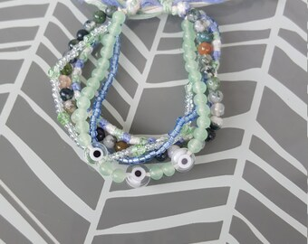 Adjustable Multistrand Bracelet - Green and earth