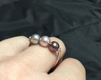 Faux pearl rose wire wrapped ring