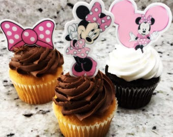 Minnie Mouse (Edible) Cupcake Toppers, Minnie mouse, Minnie Mouse cupcake topper, Minnie Mouse Decor,Minnie Mouse party, precut