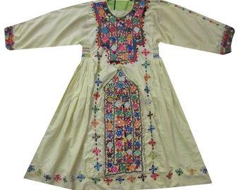 Vintage Baluchi Dress  Boho Kimono Tunic  Afgan Frock Dress Mirror Work Baluchi Gypsy Top Hand Embroidered Tribal Dress