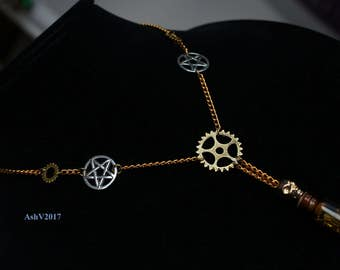 Steampunk Gear Skull Pentacle Statement Necklace, Watch Components, Metal Scraps, Y Necklace