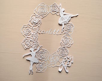 Ballet Handcut Personalised Papercut, Ballerina Dancer, Dancing, Handmade Paper Cut, Birthday Gift, Present, Art, Girl, Roses