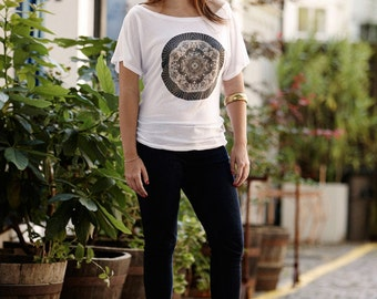 Women's Kaleidoscope Printed Fine Jersey T shirt, Ethical and Fair trade