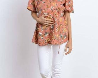 Floral off-the-shoulder blouse for maternity and nursing - perfect for spring, baby shower, and to stay fashionable during pregnancy!