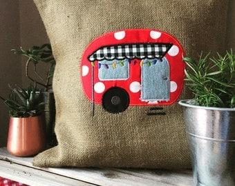 Burlap Camper Pillow Slipcover