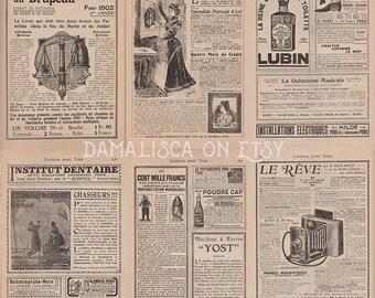 Instant download: Antique vintage french ads for scrapbooking ephemera, old paper digital pack 02