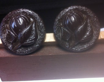 Vintage  Chocolate Brown  Colored Glass Buttons With a Flower Design