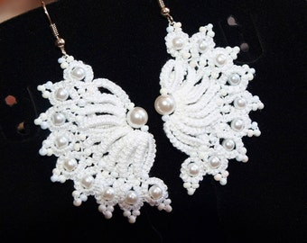 White lace tatting earrings