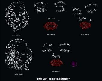 Marilyn Monroe face rhinestone templates digital download, svg, eps, studio3, png, dxf