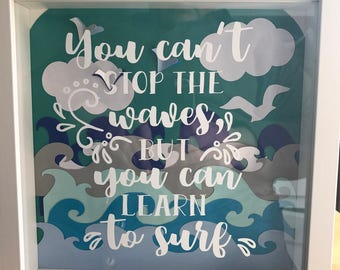 Box Frame paper cut art - Cant stop the waves - sea green background