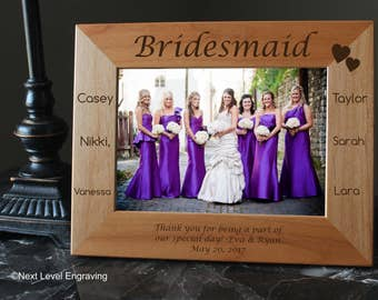 Bridesmaid Gift Ideas Bridal Party Gifts, Bridal Party Favors, Brides Maid Gifts Personalized Engraved Picture Frame -Solid Wood Photo Frame
