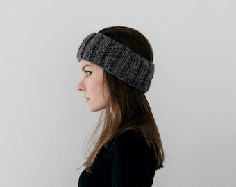 Ribbed Ear Warmer/Headband in Dark Grey