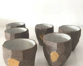 Individual Wheel Thrown Coffee Cups with Gold detail