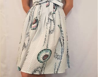 Vintage Yukata- Pleated Wrap Skirt