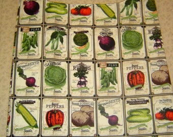 "Reusable Grocery Shopping Bag  ""Antique Seeds"" Design"